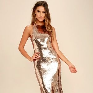 Notorious Rose Gold Sequin Maxi Dress